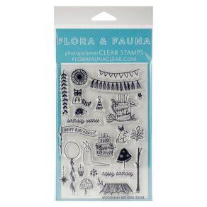 Tampons clear WOODLAND par Flora & Fauna. Scrapbooking et loisirs créatifs. Livraison rapide et cadeau dans chaque commande.