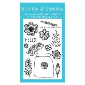 Tampons clear FLORAL LACE JAR par Flora & Fauna. Scrapbooking et loisirs créatifs. Livraison rapide et cadeau dans chaque com...
