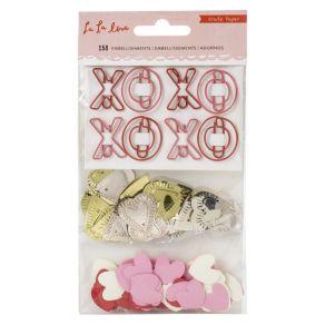 Embellissements XO/HEARTS La La Love par American Crafts. Scrapbooking et loisirs créatifs. Livraison rapide et cadeau dans c...