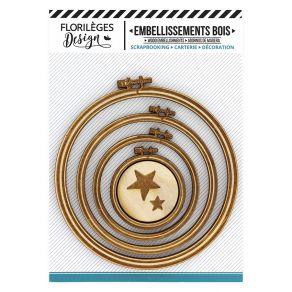 Embellissements bois SUPPORTS À BRODER CERCLES par Florilèges Design. Scrapbooking et loisirs créatifs. Livraison rapide et c...