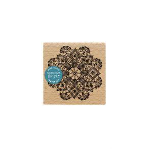 Tampon bois NAPPERON AU CROCHET par Florilèges Design. Scrapbooking et loisirs créatifs. Livraison rapide et cadeau dans chaq...