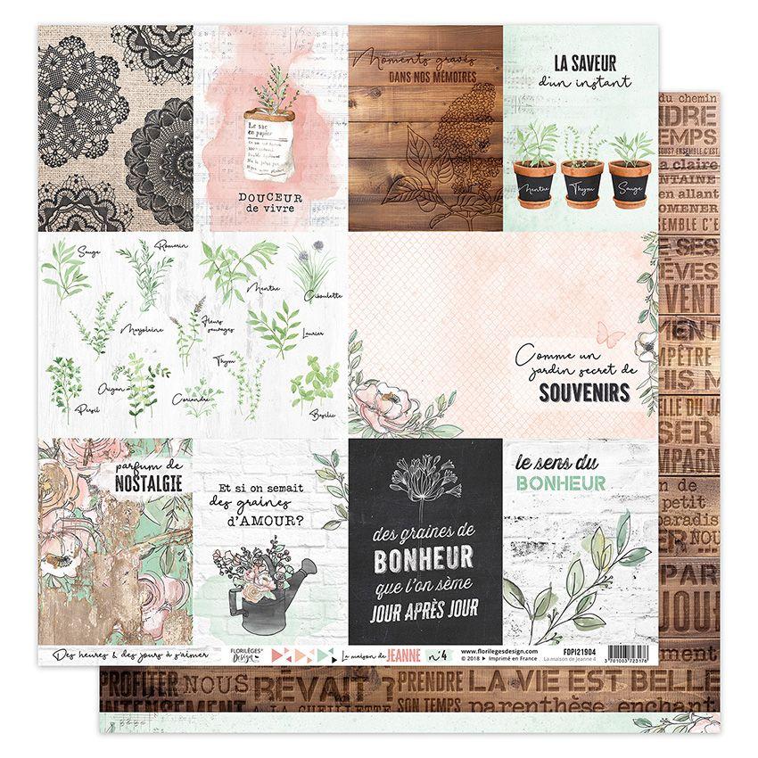 Papier imprimé LA MAISON DE JEANNE 4 par Florilèges Design. Scrapbooking et loisirs créatifs. Livraison rapide et cadeau dans...