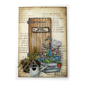 Parfait pour créer : Tampon bois PORTE EN BOIS par Florilèges Design. Livraison rapide et cadeau dans chaque commande.