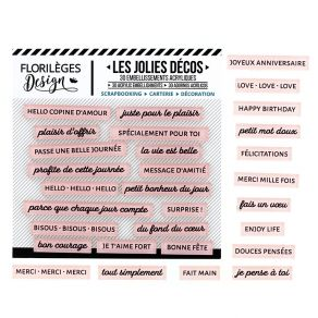 Décos MOTS DOUX ROSE THÉ par Florilèges Design. Scrapbooking et loisirs créatifs. Livraison rapide et cadeau dans chaque comm...