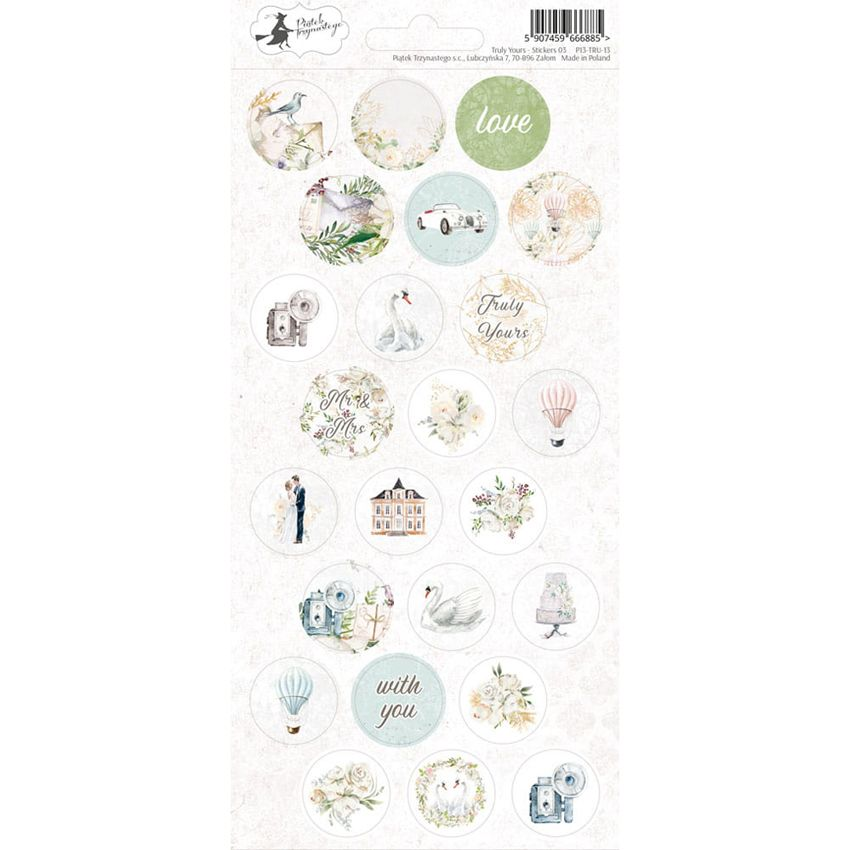 Stickers TRULY YOURS 03 par Piatek Trzynastego. Scrapbooking et loisirs créatifs. Livraison rapide et cadeau dans chaque comm...