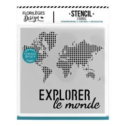 Pochoir EXPLORER LE MONDE par Florilèges Design. Scrapbooking et loisirs créatifs. Livraison rapide et cadeau dans chaque com...