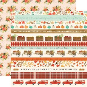 PROMO de -30% sur Papier imprimé Fall Market BORDER STRIPES Carta Bella