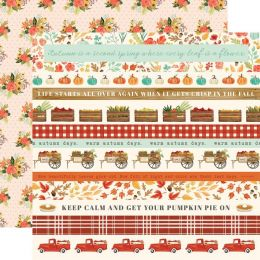 PROMO de -50% sur Papier imprimé Fall Market BORDER STRIPES Carta Bella