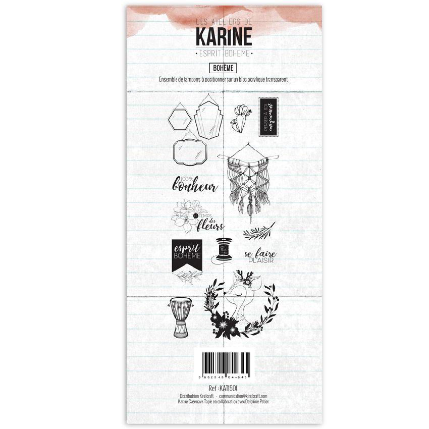 Tampon clear Esprit Bohème BOHEME par Les Ateliers de Karine. Scrapbooking et loisirs créatifs. Livraison rapide et cadeau da...
