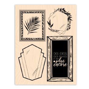 Tampon bois Esprit Bohème IDEES ENCADREES par Les Ateliers de Karine. Scrapbooking et loisirs créatifs. Livraison rapide et c...