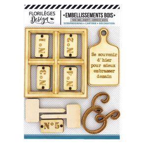Embellissements bois LA MAISON DE JEANNE 1 par Florilèges Design. Scrapbooking et loisirs créatifs. Livraison rapide et cadea...