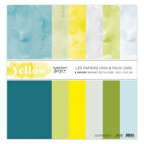 Kit 6 papiers unis 30,5 x 30,5 cm YELLOW par Florilèges Design. Scrapbooking et loisirs créatifs. Livraison rapide et cadeau ...