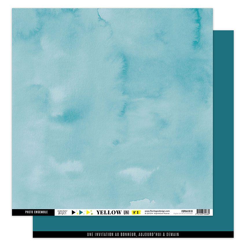 Papier uni 30,5 x 30,5 cm N°1 BLEU CANARD par Florilèges Design. Scrapbooking et loisirs créatifs. Livraison rapide et cadeau...
