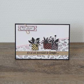 Tampon bois QUATRE POTS par Florilèges Design. Scrapbooking et loisirs créatifs. Livraison rapide et cadeau dans chaque comma...