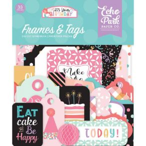 PROMO de -99.99% sur 33 die-cuts It's your birthday girl FRAMES AND TAGS Echo Park