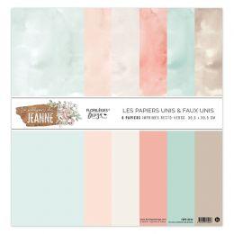 Kit 6 papiers unis 30,5 x 30,5 cm LA MAISON DE JEANNE par Florilèges Design. Scrapbooking et loisirs créatifs. Livraison rapi...