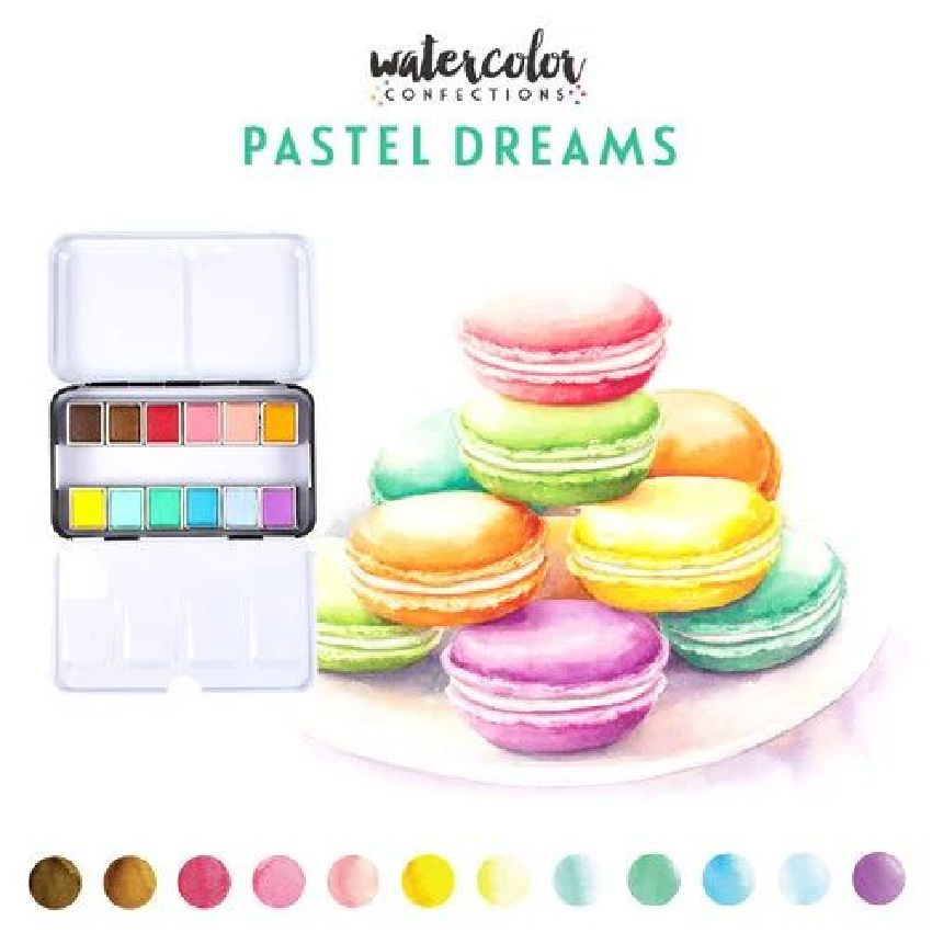 Palette d'aquarelle PASTEL DREAM par Prima Marketing. Scrapbooking et loisirs créatifs. Livraison rapide et cadeau dans chaqu...