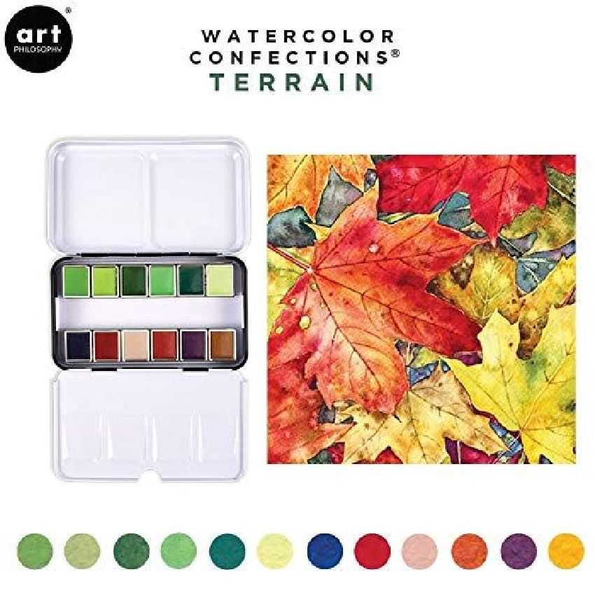 Palette d'aquarelle TERRAIN par Prima Marketing. Scrapbooking et loisirs créatifs. Livraison rapide et cadeau dans chaque com...