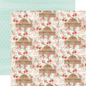 Papier imprimé Farmhouse Market BARN FLORAL par Carta Bella. Scrapbooking et loisirs créatifs. Livraison rapide et cadeau dan...