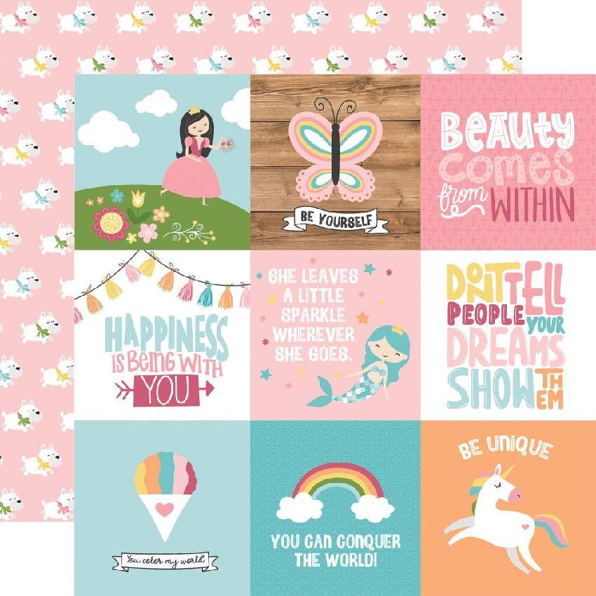 Papier imprimé All Girl JOURNALING CARDS 10 x 10 CM par Echo Park. Scrapbooking et loisirs créatifs. Livraison rapide et cade...