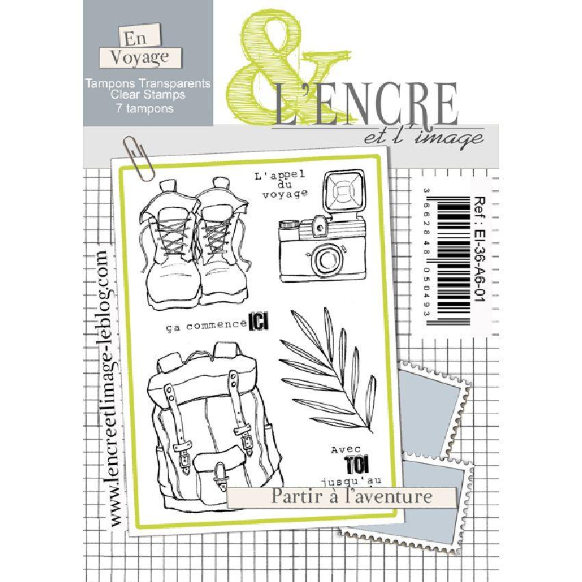 Tampons clear PARTIR A L'AVENTURE par L'Encre et l'Image. Scrapbooking et loisirs créatifs. Livraison rapide et cadeau dans c...