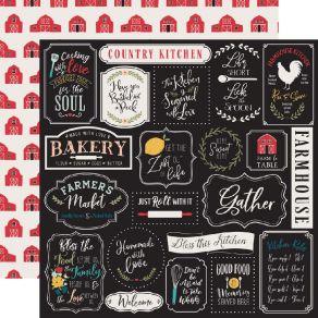 Papier imprimé Farmhouse Kitchen KITCHEN RULES par Echo Park. Scrapbooking et loisirs créatifs. Livraison rapide et cadeau da...