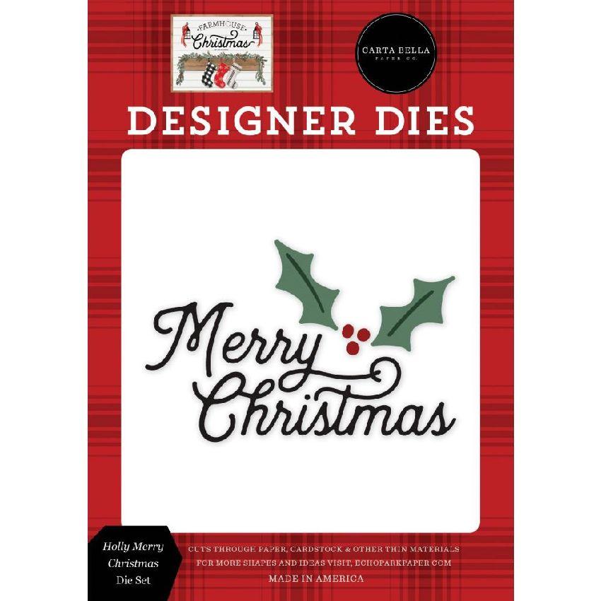 Outils de découpe Farmhouse Christmas HOLLY MERRY CHRISTMAS par Carta Bella. Scrapbooking et loisirs créatifs. Livraison rapi...