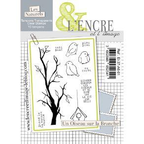 Tampon clear UN OISEAU SUR LA BRANCHE par L'Encre et l'Image. Scrapbooking et loisirs créatifs. Livraison rapide et cadeau da...