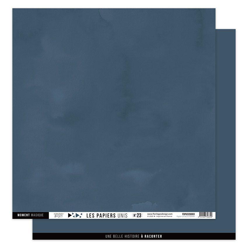 Papier Uni N°23 BLEU DENIM par Florilèges Design. Scrapbooking et loisirs créatifs. Livraison rapide et cadeau dans chaque co...