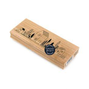 Tampon bois MAISONS DU BONHEUR par Florilèges Design. Scrapbooking et loisirs créatifs. Livraison rapide et cadeau dans chaqu...