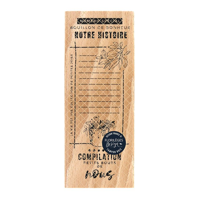 Tampon bois BOUILLON DE BONHEUR par Florilèges Design. Scrapbooking et loisirs créatifs. Livraison rapide et cadeau dans chaq...
