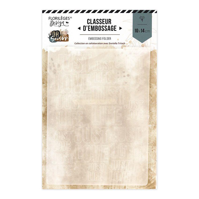 Plaque d'embossage LOVE AND LIFE par Florilèges Design. Scrapbooking et loisirs créatifs. Livraison rapide et cadeau dans cha...
