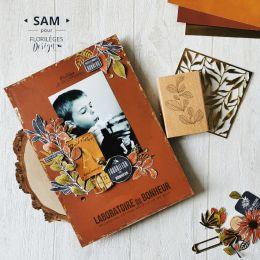 Tampon bois LABORATOIRE DU BONHEUR par Florilèges Design. Scrapbooking et loisirs créatifs. Livraison rapide et cadeau dans c...