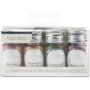 4 pots de paillettes Nuvo Pure Sheen Glitter RUSTIC ROSE