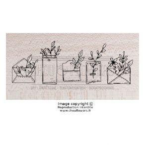 Tampon bois Esprit Cottage ENVELOPPES FLEURIES