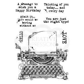 Tampons clear VINTAGE TYPEWRITER par Creative Expressions. Scrapbooking et loisirs créatifs. Livraison rapide et cadeau dans ...