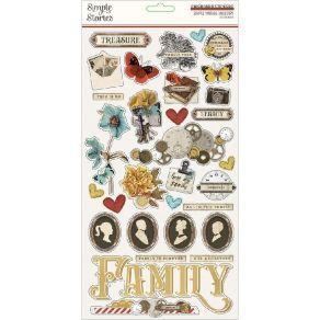 Stickers cartonnés Simple Vintage Ancestry 15 X 30 CM