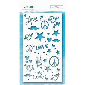Pochoir PEACE AND LOVE par DIY and Cie. Scrapbooking et loisirs créatifs. Livraison rapide et cadeau dans chaque commande.