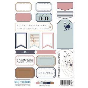 2 planches d'étiquettes A5 DANS LA LUNE par Chou and Flowers. Scrapbooking et loisirs créatifs. Livraison rapide et cadeau da...