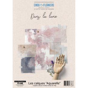 Kit calques aquarelles DANS LA LUNE par Chou and Flowers. Scrapbooking et loisirs créatifs. Livraison rapide et cadeau dans c...
