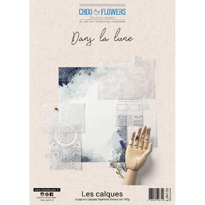 Kit calques DANS LA LUNE par Chou and Flowers. Scrapbooking et loisirs créatifs. Livraison rapide et cadeau dans chaque comma...