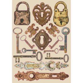 Chipboards en bois Lady Vagabond LOCKS & KEYS par Stamperia. Scrapbooking et loisirs créatifs. Livraison rapide et cadeau dan...