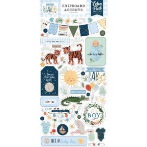 Chipboards Welcome Baby Boy ACCENTS par Echo Park. Scrapbooking et loisirs créatifs. Livraison rapide et cadeau dans chaque c...