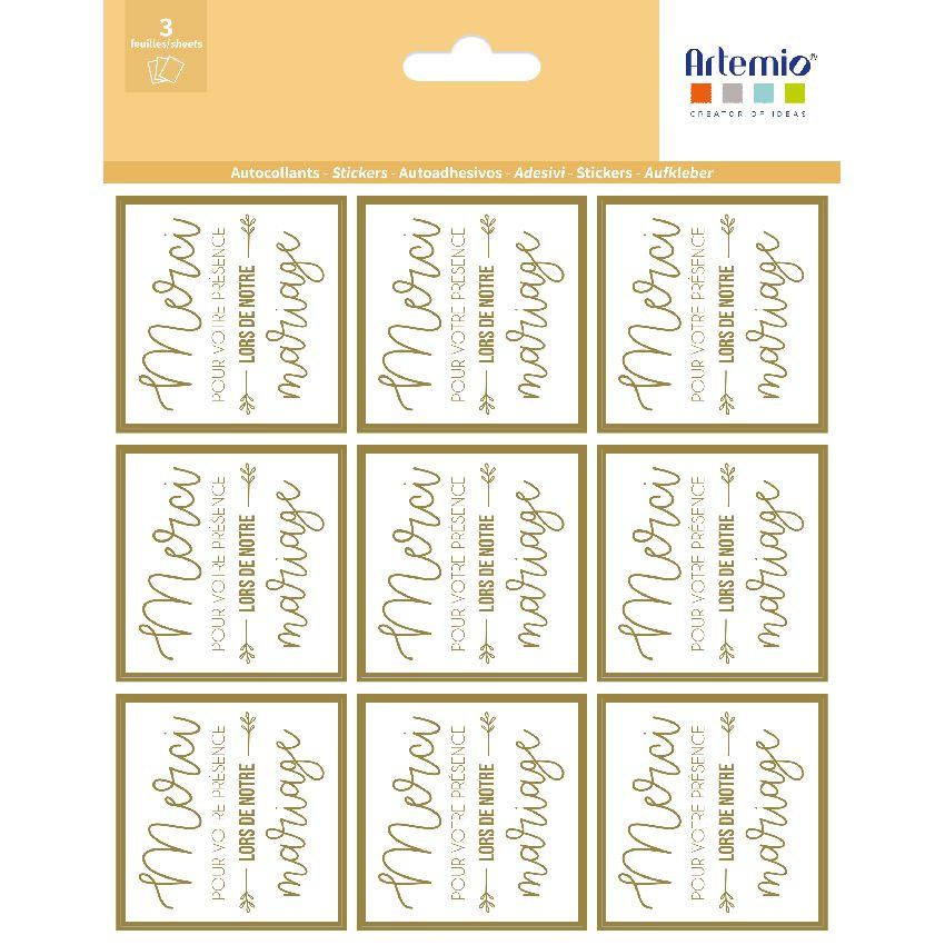 Stickers MERCI OR par Artemio. Scrapbooking et loisirs créatifs. Livraison rapide et cadeau dans chaque commande.