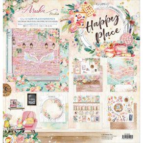 Kit collection HAPPY PLACE par Asuka Studio. Scrapbooking et loisirs créatifs. Livraison rapide et cadeau dans chaque commande.