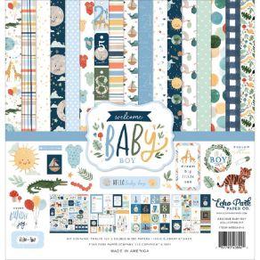 Kit collection WELCOME BABY BOY par Echo Park. Scrapbooking et loisirs créatifs. Livraison rapide et cadeau dans chaque comma...