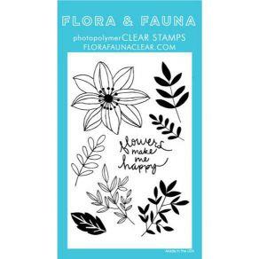 Tampons clear HAPPY FLOWERS par Flora & Fauna. Scrapbooking et loisirs créatifs. Livraison rapide et cadeau dans chaque comma...