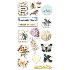 Stickers puffy NATURE LOVER par Prima Marketing. Scrapbooking et loisirs créatifs. Livraison rapide et cadeau dans chaque com...