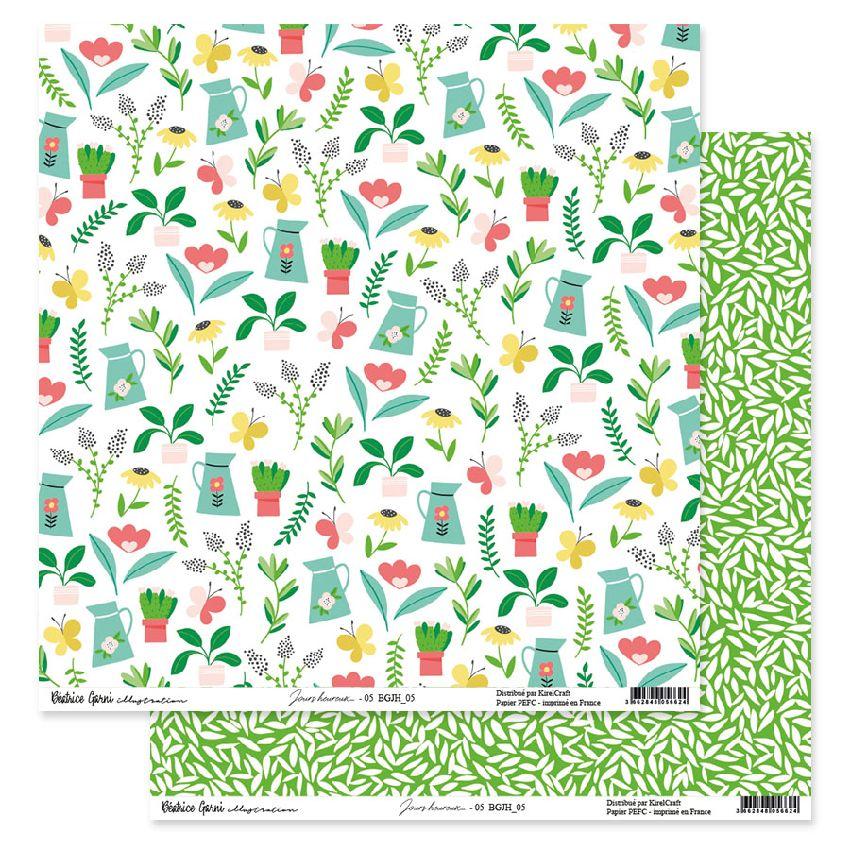 Papier imprimé JOURS HEUREUX 5 par Béatrice Garni Illustration. Scrapbooking et loisirs créatifs. Livraison rapide et cadeau ...