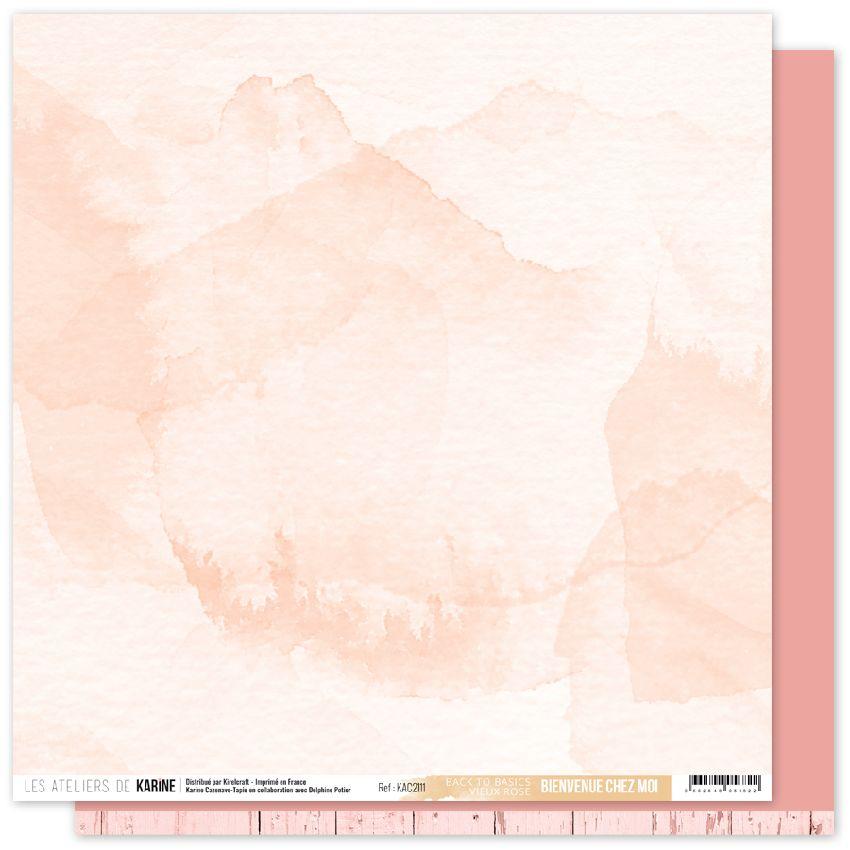 Papier uni 30,5 x 30,5 cm Back To Basics BIENVENUE CHEZ MOI 11 par Les Ateliers de Karine. Scrapbooking et loisirs créatifs. ...
